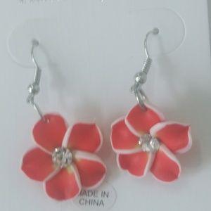 5/$25 or 3/$15 flower earrings red